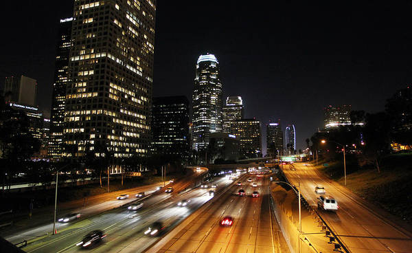 Los Angeles Poster featuring the photograph City At Night - Los Angeles by David Buchan