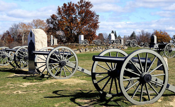 Gettysburg Poster featuring the photograph Civil War Cannons At Gettysburg National Battlefield by Brendan Reals