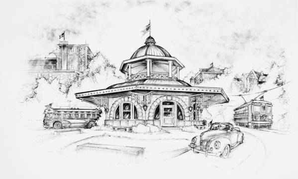 Decatur Transfer House Poster featuring the drawing Decatur Transfer House by Scott and Dixie Wiley
