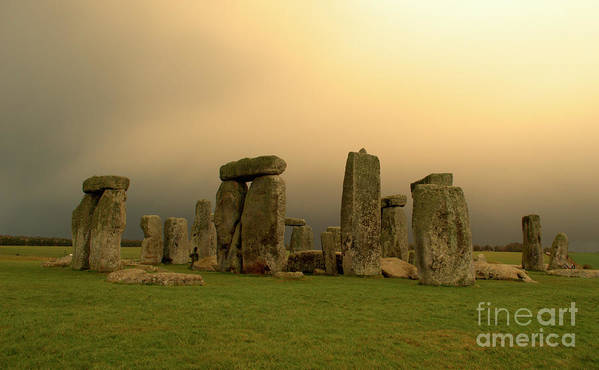 England Poster featuring the photograph Eerie Stonehenge by Deborah Smolinske