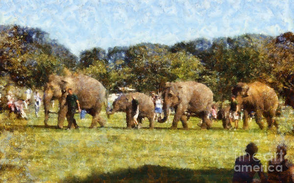 Elephant Poster featuring the painting Elephant Train by Pixel Chimp