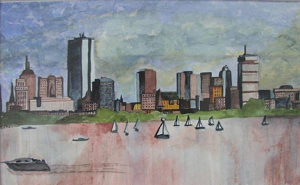 Boston Poster featuring the painting End Of The Workday by Sue Melanson