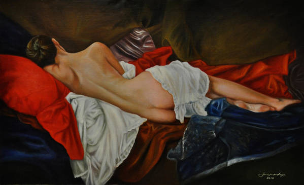 Nude Painting Poster featuring the painting Figurative Nude Of A Women by Epifanio jr Mendoza