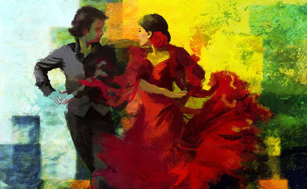 Jazz Poster featuring the painting Flamenco Dancer 025 by Catf