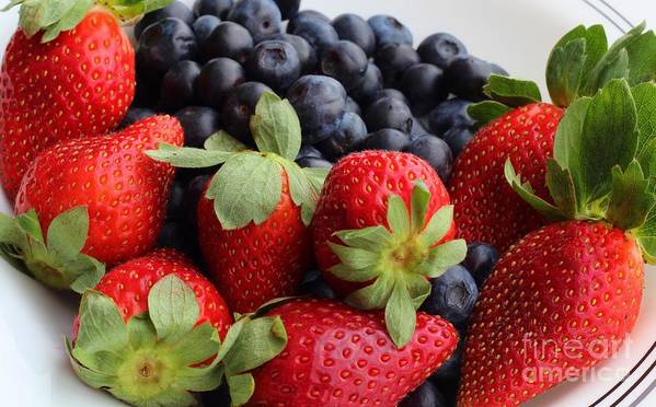 Fruit Poster featuring the photograph Fruit - Strawberries - Blueberries by Barbara Griffin