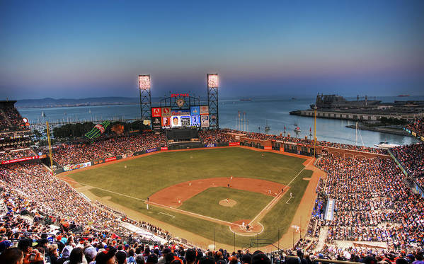 Giants Stadium Poster featuring the photograph Giants Ballpark At Night by Shawn Everhart