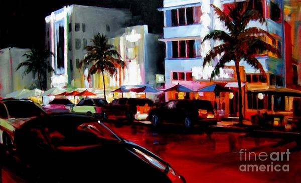 South Beach Poster featuring the painting Hot Nights In South Beach - Oil by Michael Swanson