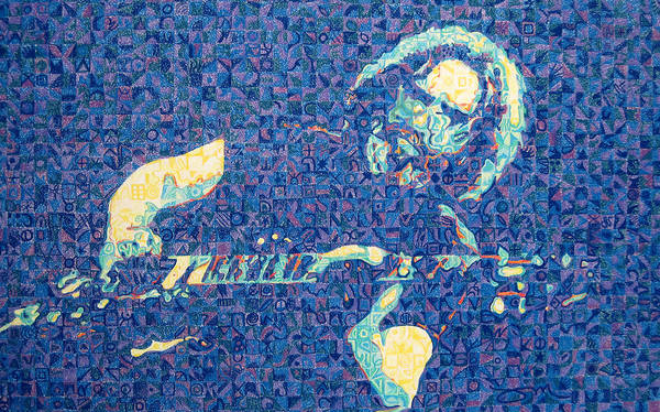 Jerry Garcia Poster featuring the drawing Jerry Garcia Chuck Close Style by Joshua Morton
