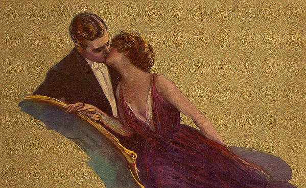Kissing Poster featuring the digital art Kissing On The Chaise-longue Valentine by Sarah Vernon