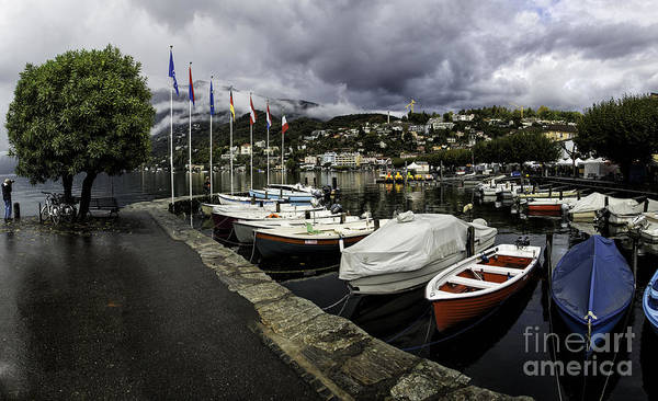 Building Poster featuring the photograph Lake Maggiore Boats by Timothy Hacker