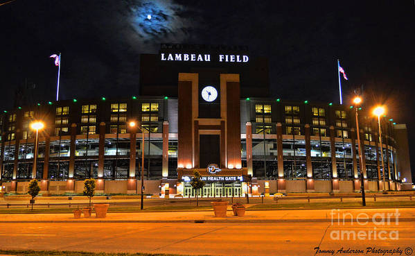 Title Town Poster featuring the photograph Lambeau Field At Night by Tommy Anderson