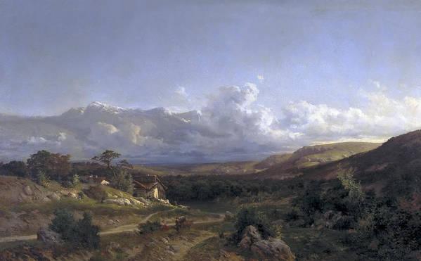 Carlos De Haes Poster featuring the painting Landscape In Dauphine by Carlos de Haes