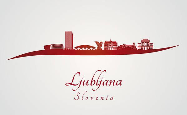 Ljubljana Skyline Poster featuring the digital art Ljubljana Skyline In Red by Pablo Romero