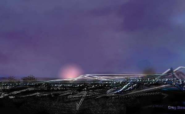 Airport.night Landing.runway.airplane Landing Poster featuring the digital art Night Landing Approch by Greg Stew