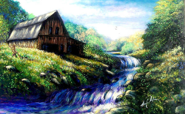 Landscape Old Barn Water Spring Time Fantasy Poster featuring the painting Old Barn 2 by Larry Palmer