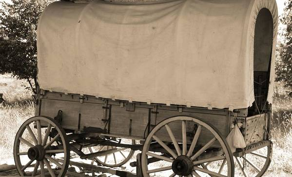 Old Covered Wagon Out West Poster featuring the photograph Old Covered Wagon Out West by Dan Sproul