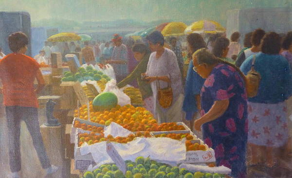 Markets Poster featuring the painting Otara Market. Auckland Nz. by Terry Perham