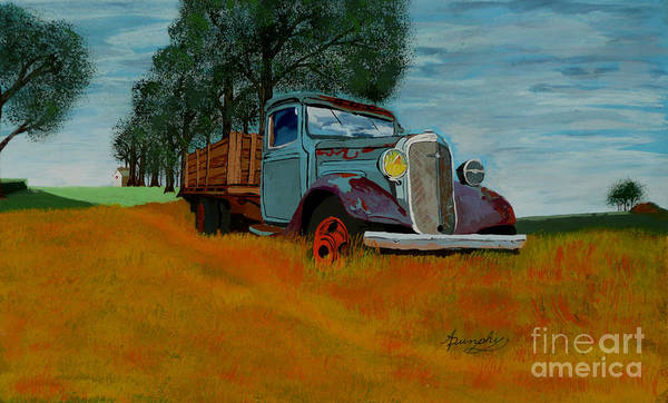 Truck Poster featuring the painting Out To Pasture by Anthony Dunphy