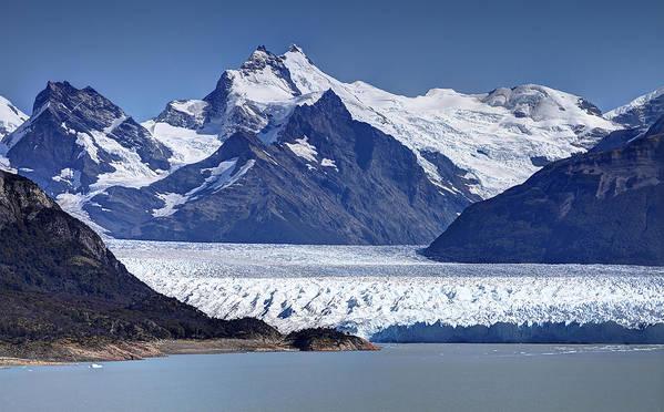 Perito Moreno Glacier Poster featuring the photograph Perito Moreno Glacier - Snow Top Mountains by Kim Andelkovic