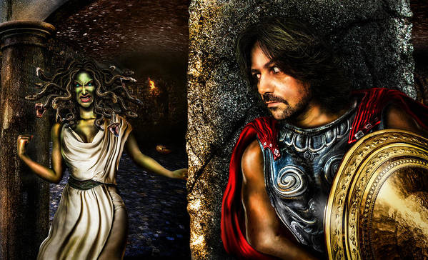 Perseus And Medusa Poster featuring the digital art Perseus And Medusa by Alessandro Della Pietra