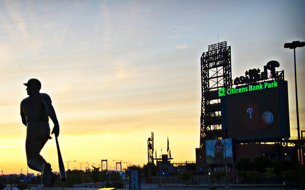 Phillies Poster featuring the photograph Phillies Stadium At Dawn by Bill Cannon