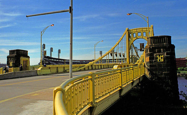 Allegheny Poster featuring the photograph Pittsburgh - Roberto Clemente Bridge by Frank Romeo