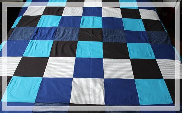 Quilts Poster featuring the tapestry - textile Quilt Blue Blocks by Barbara Griffin