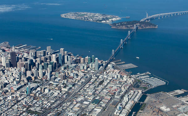 San Poster featuring the photograph San Francisco Bay Bridge Aerial Photograph by John Daly
