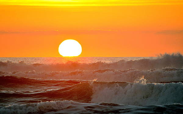 Scenic Poster featuring the photograph Setting Sun And Crashing Waves by AJ Schibig