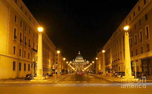 Worth Poster featuring the photograph St. Peter's Basilica. Via Della Conziliazione. Rome by Bernard Jaubert