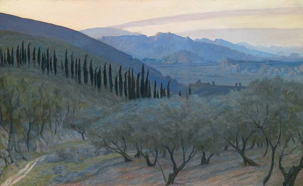 Umbria; Italy; Italian; Landscape; View; Picturesque; Sunrise; Morning; Olive Tree; Trees; Mountains; Mountainous; Hills; Hilly; Umbrian Poster featuring the painting Sunrise Umbria 1914 by Sir William Blake Richmond