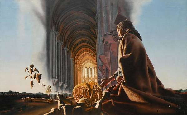 Surreal Poster featuring the painting Surreal Cathedral by Dave Martsolf