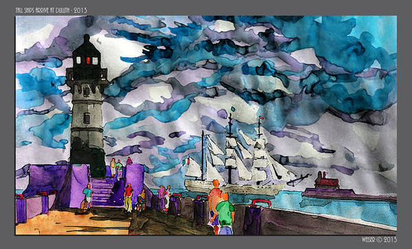Lighthouse Poster featuring the painting tall ships at Duluth Harbor by Dennis Weiser