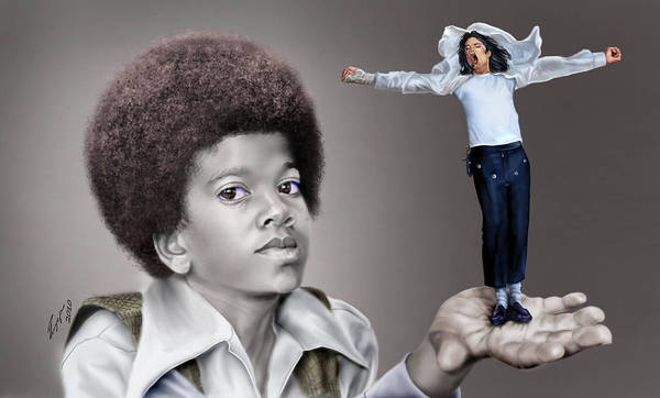 Young Michael Jackson Poster featuring the painting The Best Of Me - Handle With Care - Michael Jacksons by Reggie Duffie