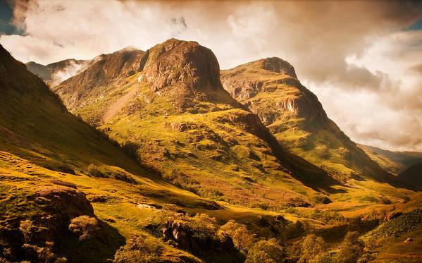 Jenny Rainbow Fine Art Photography Poster featuring the photograph Three Sisters. Glencoe. Scotland by Jenny Rainbow