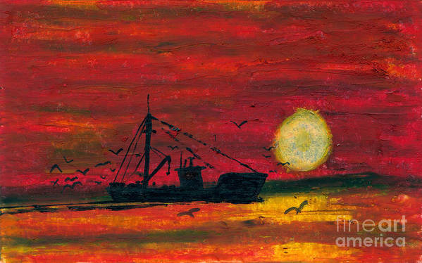 Art Artwork Painting Kyllo Sea Ocean Water Saltwater Boat Ship Orange Red Reddish Yellow Sunset Sunrise Silhouette Sun Oil Pastel Fishing Mast Reflection Day Peace Peaceful Calm Calming Relax Relaxed Relaxing Restful Quiet Diesel Trawl Trawler Evening Gear Light Dark Birds Seagull Seagulls Gulls Gull Poster featuring the painting Trip Home by R Kyllo