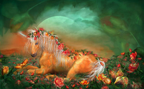 Unicorn Poster featuring the mixed media Unicorn Of The Roses by Carol Cavalaris