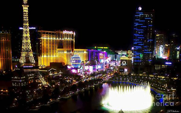 Las Vegas Poster featuring the digital art Vegas At Night by Barbara Chichester