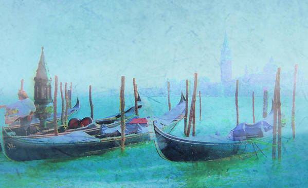 Italy Poster featuring the painting Venice Italy Gondolas With San Giorgio Maggiore by Douglas MooreZart