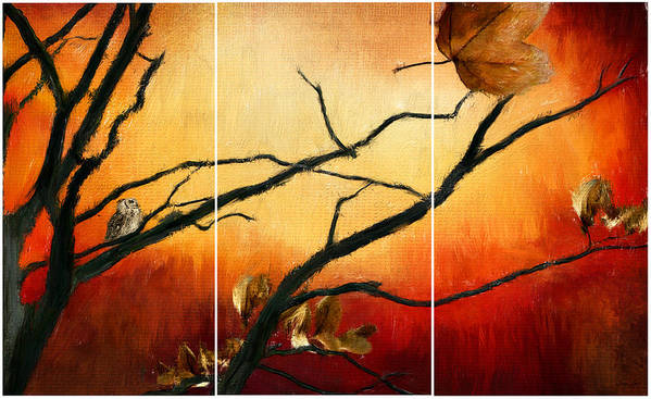 Owl At Sunset Poster featuring the digital art View Of Autumn by Lourry Legarde