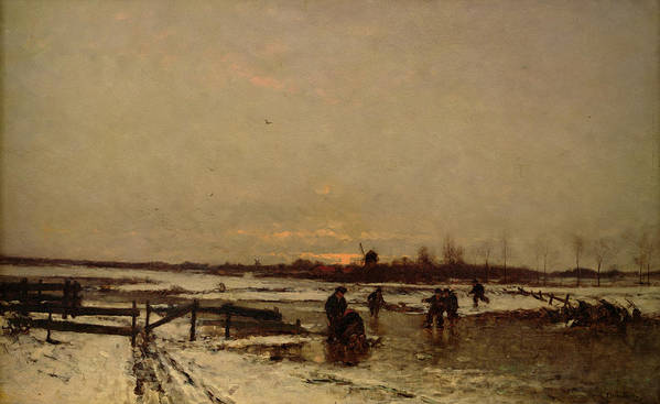 Snow Poster featuring the painting Winter Scene by Ludwig Munthe