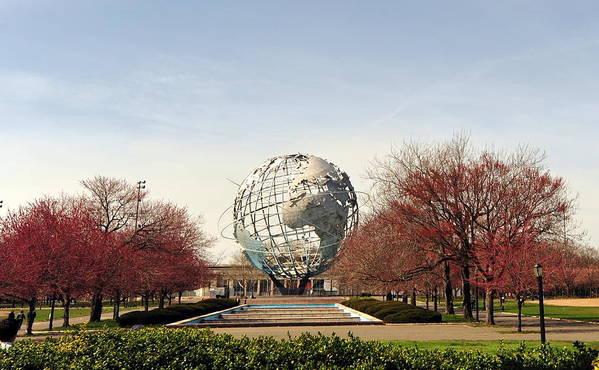 Nyc Poster featuring the photograph World's Fair Globe Corona Park by Tony Ambrosio