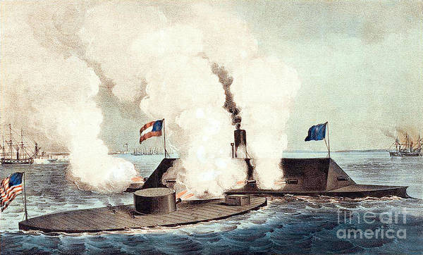 History Poster featuring the photograph The Monitor And The Merrimac, 1862 by Photo Researchers