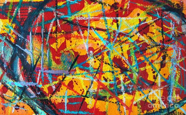 Abstract Poster featuring the painting Abstract Pizza 1 by Ana Maria Edulescu