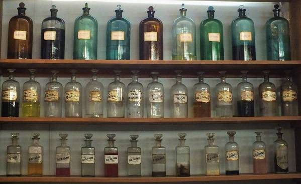 Antique Bottles Poster featuring the photograph Apocethary Jars by Anna Villarreal Garbis