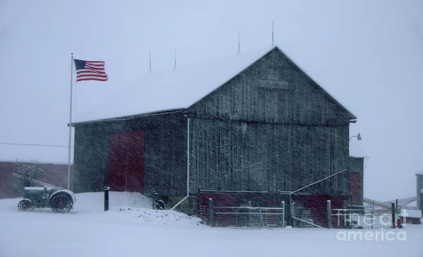 Barn Poster featuring the photograph Barn In Winter by Ronald Grogan