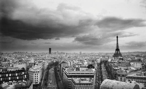 Horizontal Poster featuring the photograph Black And White Aerial View Of An Overcast Sky Above The Eiffel Tower by Stockbyte