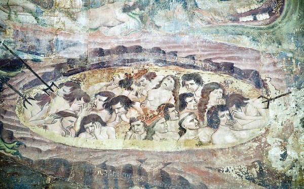 Human Poster featuring the photograph Boiling In Hell, 14th Century Fresco by Sheila Terry