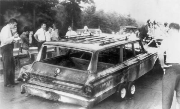 History Poster featuring the photograph Charred Remains Of Station Wagon Driven by Everett