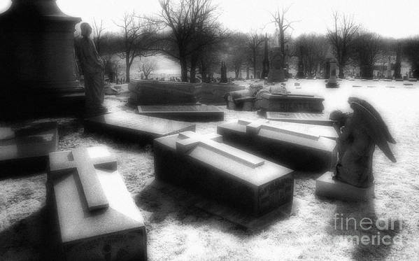 Black & White Infrared Photography Poster featuring the photograph Coffins And Angel by Jeff Holbrook